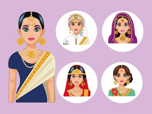 Vijf arabische bruiden tekens