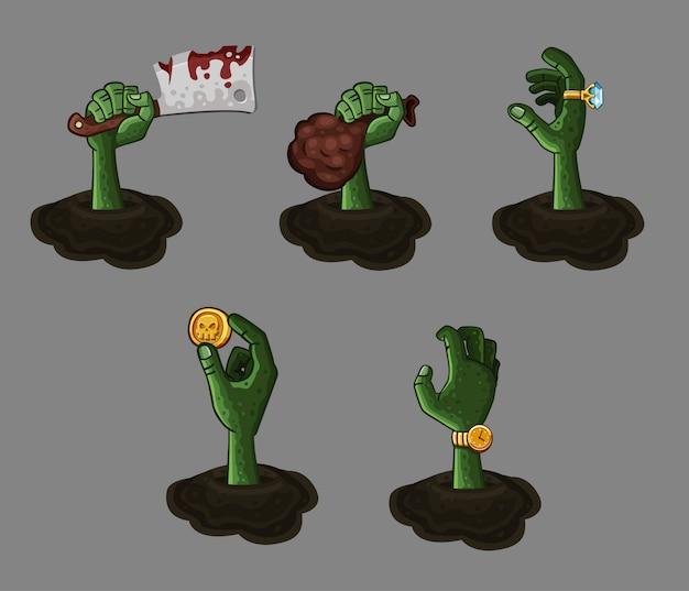 Vijf cartoon zombie handen