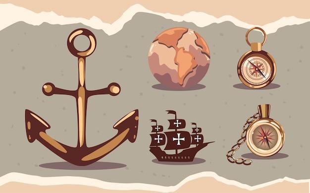 Vijf columbus-dagpictogrammen