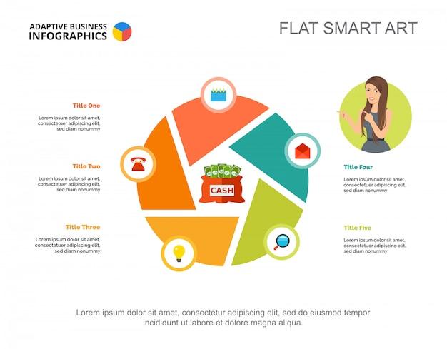 Vijf elementen verwerken grafieksjabloon voor presentatie. visualisatie van bedrijfsgegevens.