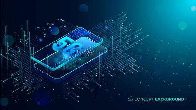 Vijf g technische achtergrond met blauwe gloeiende stippen 3d-tekst komt uit telefoon