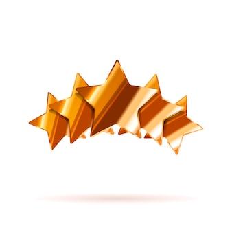 Vijf glanzende sterren van de bronsclassificatie met geïsoleerde schaduw