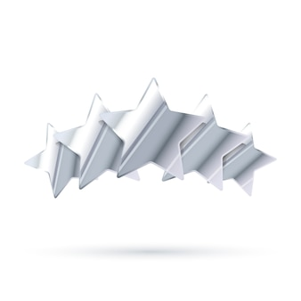 Vijf glanzende zilveren beoordelingssterren met geïsoleerde schaduw