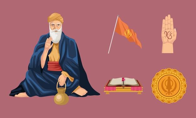 Vijf goeroe nanak jayanti iconen