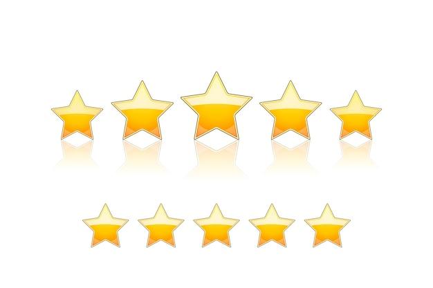 Vijf gouden geïsoleerde sterren