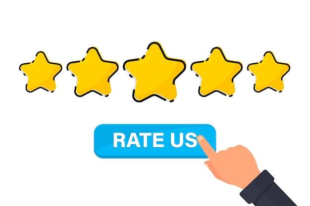 Vijf gouden sterren tevredenheidsbeoordeling en positieve beoordeling achterlaten online feedbackreputatie