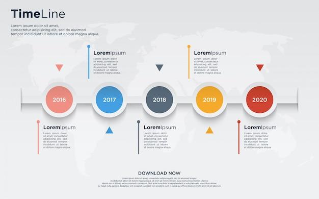 Vijf grafiekinformatiekaarten met kleurrijke cirkels en met jaarnummers in het ontwerp.