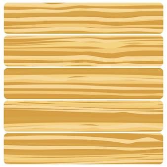 Vijf houten planken. vector abstracte houtstructuur in plat ontwerp.