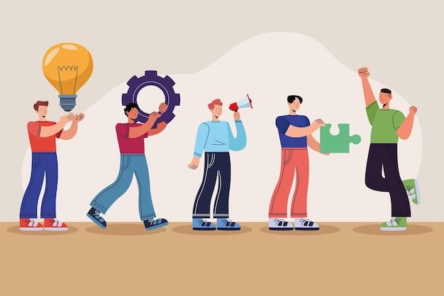 Vijf innovatieve personen karakters