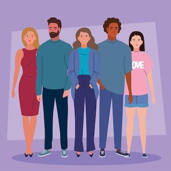 Vijf jonge personen karakters