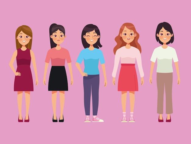 Vijf jonge vrouwen