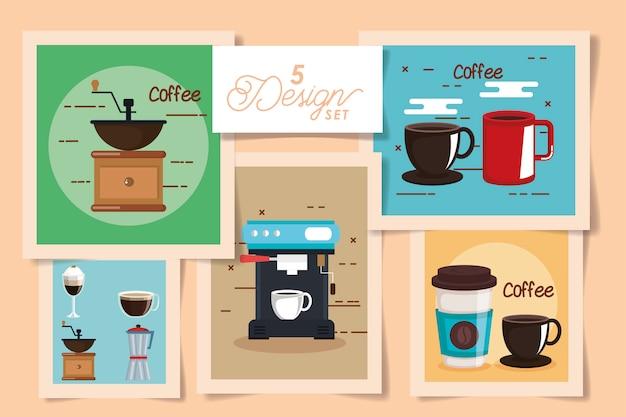 Vijf kaarten koffie