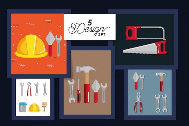 Vijf kaarten met gereedschappen en apparatuur in aanbouw