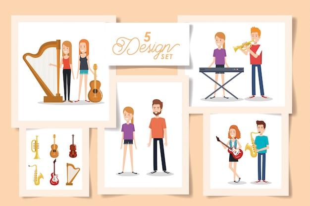 Vijf kaarten van jongeren met muziekinstrumenten