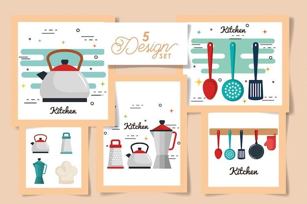Vijf kaarten van keuken iconen