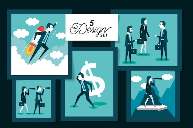 Vijf kaarten van mensen uit het bedrijfsleven