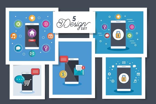 Vijf kaarten van pictogrammen voor smartphones en sociale media