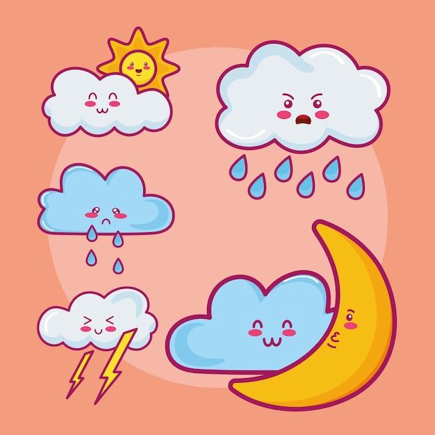 Vijf kawaii wolken karakters