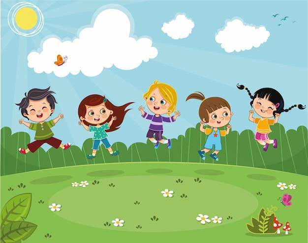 Vijf kinderen springen van vreugde op een groen veld vectorillustratie