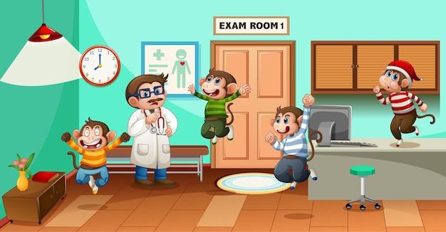 Vijf kleine aapjes springen in het ziekenhuis met een dokter
