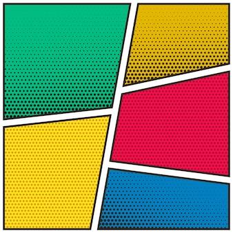 Vijf lege stripboekpagina kleurrijke sjabloon achtergrond
