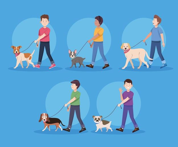 Vijf mannen met honden