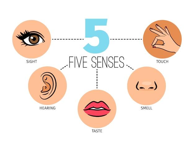 Vijf menselijke gevoelens.