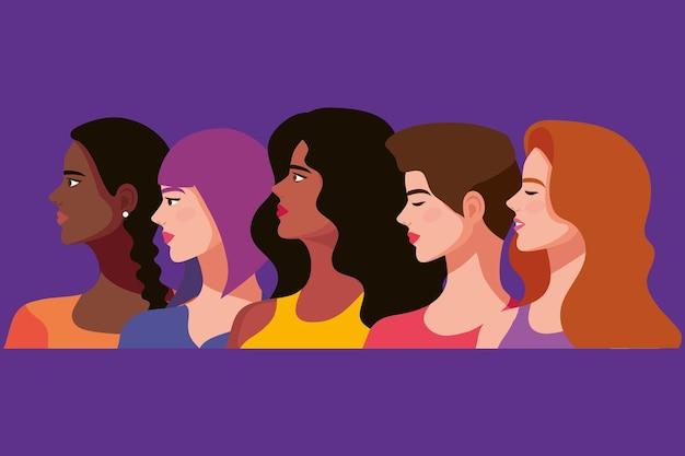 Vijf mooie vrouwelijke personages
