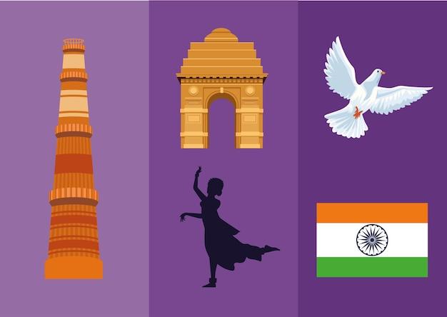 Vijf onafhankelijkheidspictogrammen in india