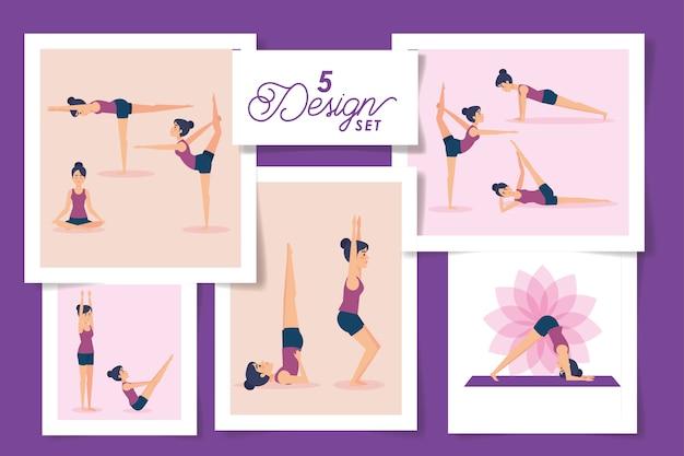 Vijf ontwerpen van vrouwen die yoga beoefenen