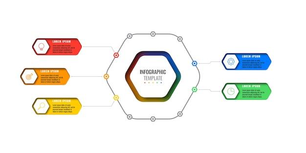 Vijf opties ontwerp lay-out infographic sjabloon met zeshoekige elementen. bedrijfsprocesdiagram voor brochure, banner, jaarverslag en presentatie