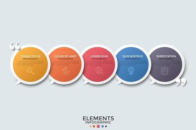 Vijf overlappende cirkelvormige tekstballonnen gerangschikt in horizontale rij, dunne lijnpictogrammen, plaats voor tekst en aanhalingstekens. kleurrijke infographic ontwerpsjabloon. voor folder.