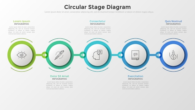 Vijf papieren witte ronde elementen in kleurrijke kaders gerangschikt in horizontale rij en verbonden door pijlen. concept van 5 stadia van opeenvolgende ontwikkeling. infographic ontwerp lay-out.