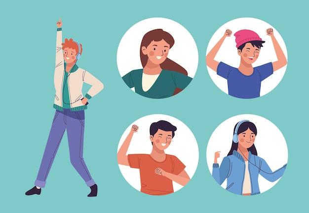 Vijf personen dansen