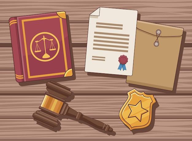 Vijf pictogrammen voor justitiewetten