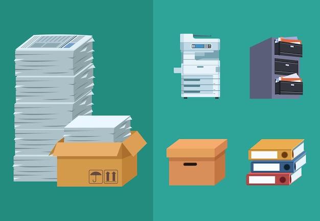 Vijf pictogrammen voor kantoorpapier