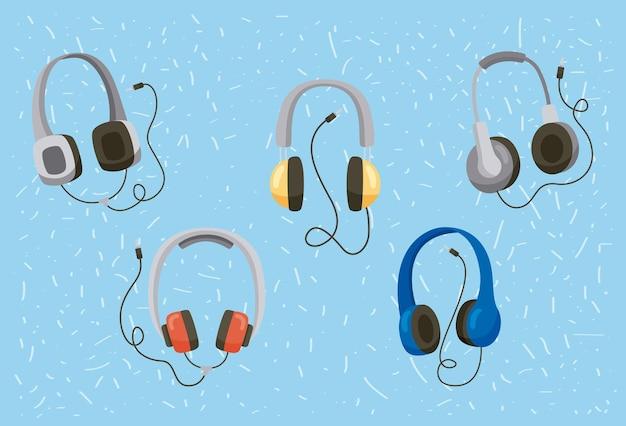 Vijf pictogrammen voor koptelefoons