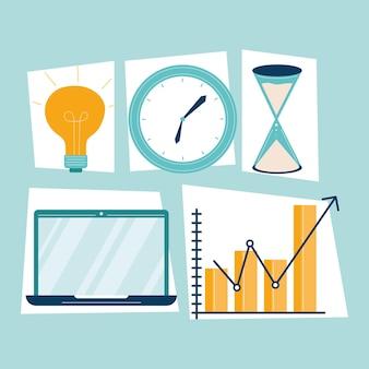 Vijf productiviteitswerkelementen ingesteld