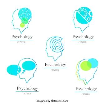 Vijf psychologie logo's met verschillende ontwerpen