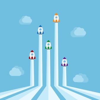 Vijf raketten van verschillende kleuren vliegen in de lucht met clound op achtergrond, nieuwe start-up, zakelijk project, service of producten concept