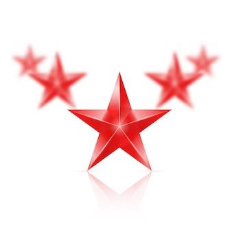Vijf rode sterren op een witte achtergrond - de eerste in focus, de andere wazig.