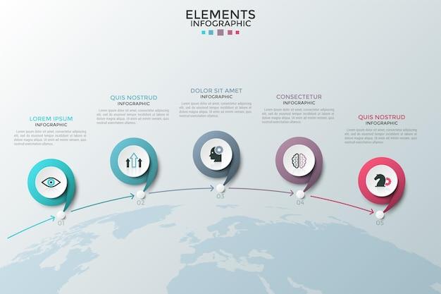 Vijf ronde elementen met platte symbolen erin verbonden door pijlen en geplaatst boven het aardoppervlak. concept van 5 stappen naar wereldwijde samenwerking. infographic ontwerpsjabloon.