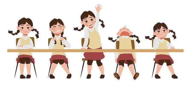 Vijf soorten stemming op school in vlakke stijl