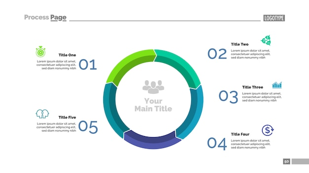 Vijf stappen cyclusdiagram dia sjabloon. bedrijfsgegevens. grafiek, grafiek