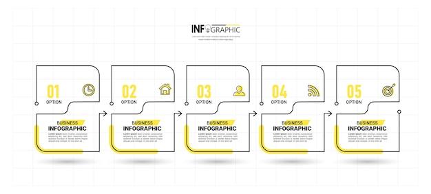Vijf stappen infographic dunne lijn ontwerp