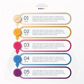 Vijf stappen, infographic en werk man pictogrammen voor bedrijfsconcept.