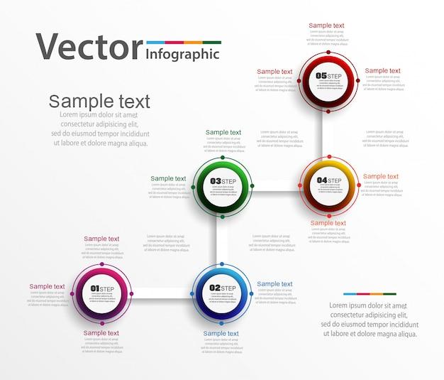 Vijf stappen infographics met kleurrijke cirkels