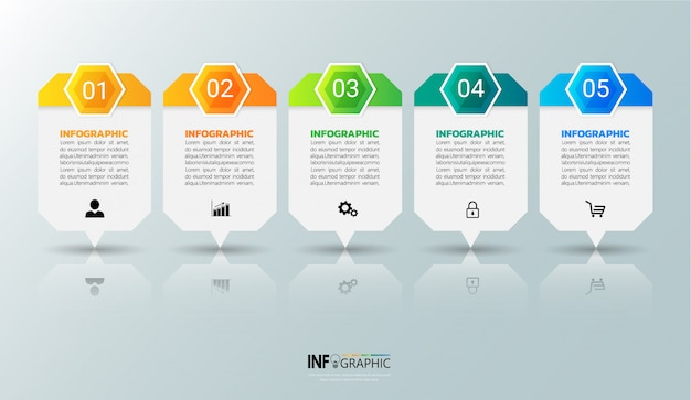 Vijf stappen infographics-sjabloon