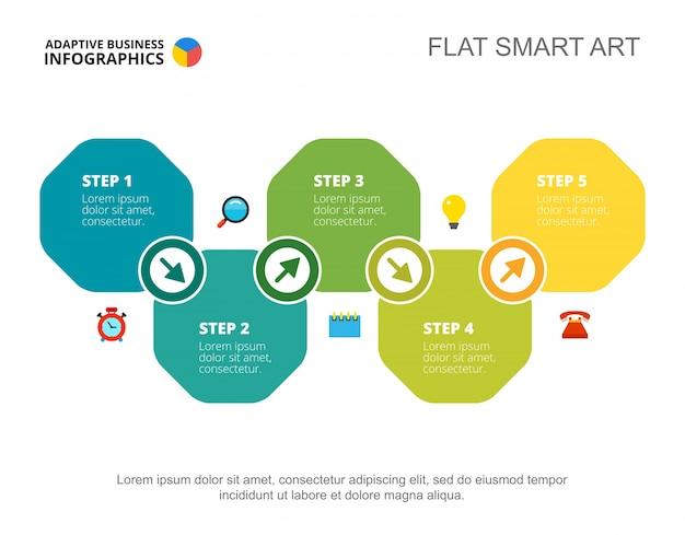 Vijf stappen ontwikkeling dia sjabloon