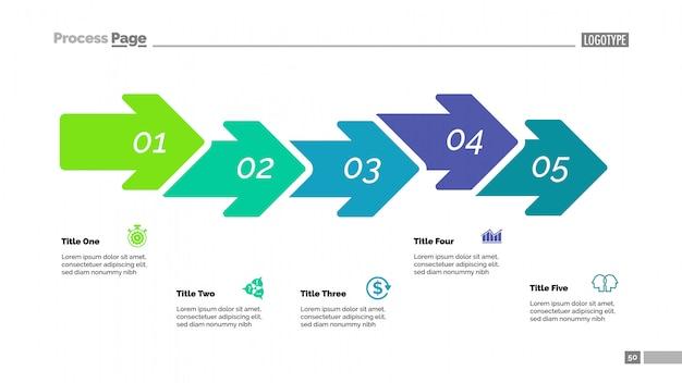 Vijf stappen pijl grafiek dia sjabloon
